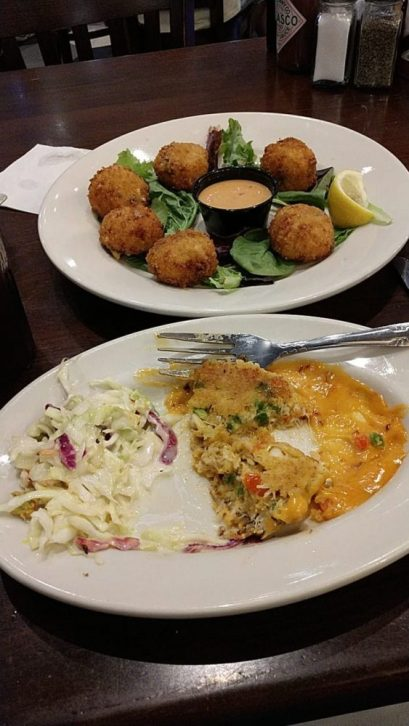 I was so hungry that I forgot to take a pic before eating most of my crab cakes. The food here is delicious.