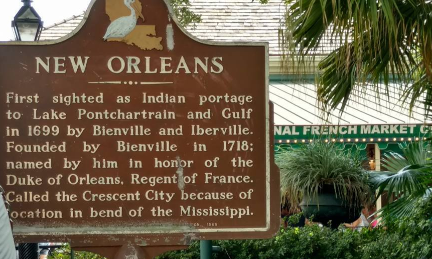 The marker tells the story of the founding of New Orleans.